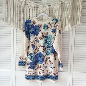 Vintage Cream Floral Chunky Knit Oversize Sweater